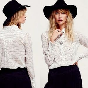 Free People Sheer Ruffle Polka Dot Button Up Top